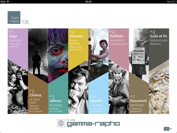 Sommaire de Gamma-Rapho le magazine #8